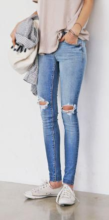 White Ripped Skinny Jeans | White jeans, Skinny jeans and Skinny fit