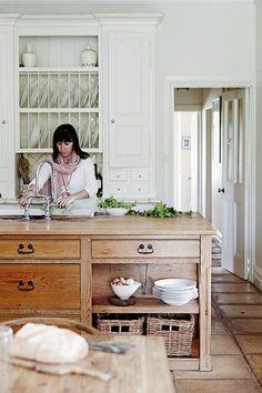 Pretty White Kitchen with Wood Island - Mark Roper