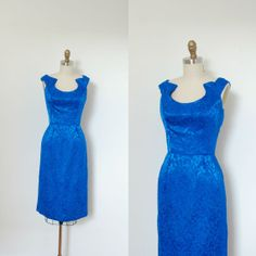 1960s Blue Brocade Cocktail dress by Estevez.