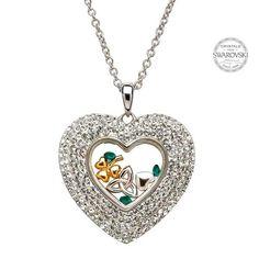 Trinity Shamrock Heart Pendant Encrusted With Swarovski Crystals