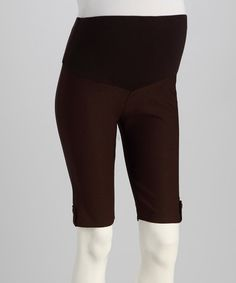 Take a look at this Brown Mid-Belly Maternity Bermuda Shorts by QT Maternity on #zulily today!