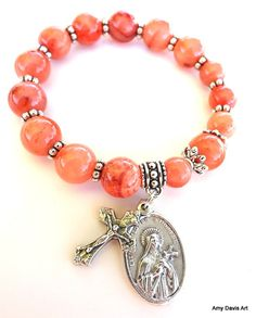 Light Orange Rosary Bracelet Women's Small Saint by AmyDavisArt