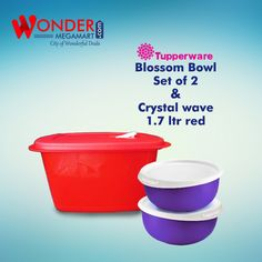 Best Tupperware Blossom Bowl Set of 2 & Crystal Wave 1.7 Ltr Red…