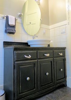 This bathroom vanity used to be a dining room china hutch! | Roadkill Rescue
