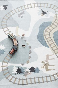 We've given the classic playmat a Scandi makeover with our beautiful playrug, featuring woodland creatures and a train track. Rug Inspiration, Inspiration For Kids, Ikea Rug, Toddler Boy Gifts, Scandinavian Nursery, Baby Boy Rooms, Kids Corner, Room Rugs, Rugs On Carpet