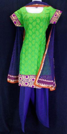Parrot green and deep blue chanderi cotton sico salwar kameez sz 42 (L)