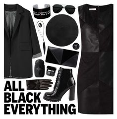 """All Black Everything"" by ladomna ❤ liked on Polyvore featuring Jeffrey Campbell, Brooks Brothers, Ann Demeulemeester, UN United Nude and allblack"