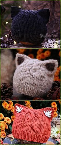 05af3330537a99 Knit Simple Kitten or Fox Ears BeaniePaid Pattern - Fun Kitty Cat Hat Knitting  Patterns Knitted