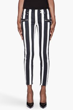 BALMAIN Black and white Striped twill harlequin Jeans only $2050.00