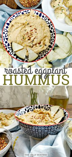 Roasted Eggplant Hummus is a robust blend of chickpeas eggplant bell peppers and tahini - and finishes with red pepper flake spice. Eggplant Hummus, Roast Eggplant, Appetizers For Party, Appetizer Recipes, Snack Recipes, Picnic Recipes, Dip Recipes, Party Snacks, Gourmet Recipes