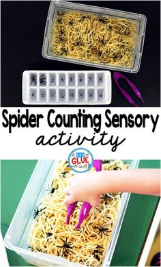 Spider Counting Sensory Activity is a fun Halloween themed interactive sensory bin. Students will practice their fine motor skills by picking out spiders from their webs and placing in the numbered ice trays. This activity is perfect for preschool and kin