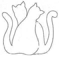 line drawing for applique cat quilt - posted by Edileny Gomes April, Cat Quilt Patterns, Applique Patterns, Applique Quilts, Applique Designs, Embroidery Applique, Cat Template, Applique Templates, Cat Crafts, Sewing Crafts