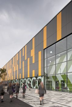 BDP, St John Bosco Arts College is a new build secondary place Catholic girls' school in Croxteth, Liverpool. Architecture Building Design, Industrial Architecture, Education Architecture, School Architecture, St John Bosco, Shopping Center, Interior And Exterior, Signage, Auto Dealerships