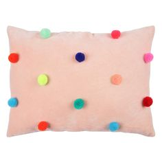 Pompom cushion - pea