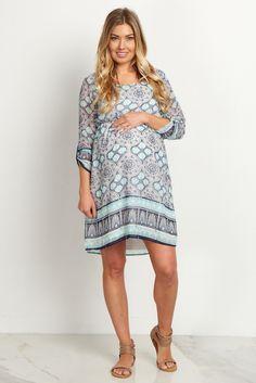 Jade-Printed-Chiffon-Maternity-Dress