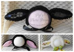 Lamb Bonnets Black White unisex one of each RTS by PipsPhotoprops