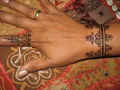 Great swirls, hand...henna ring henna bracelet