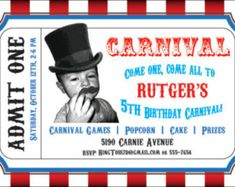 Perfect invitation for a circus or carnival themed party!    Invitation measures 4.375 x 7 inches.    This listing is for a digital birthday party invitation that you can print on your own. If you are interested in having us print the invitation professionally and sending it to you, please contact us.    If you would like to buy this invitation:    1- Purchase and pay for this birthday invitation. 2- Include your customization details (names, dates, locations, phone numbers, message, etc.)…