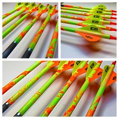 Custom Gold Tips in Flo Yellow and Flo Orange hydro-dip www.passthrucustomarrows.com