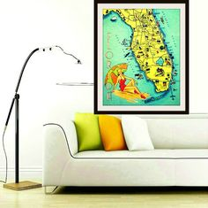 Map Gifts - Florida map art print