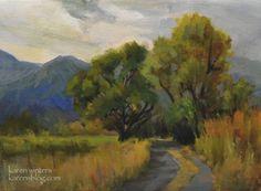 Eastern Sierra Bishop Cottonwood Oil Painting Art by California landscape painter Karen Winters -- Karen Winters
