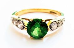 Vintage Ladies Solitaire Russian Diopside Engagement Ring in 14 ct Yellow Gold with Cubic Zirconia Highlights FREE POSTAGE Included by GloryBeVintageWares on Etsy