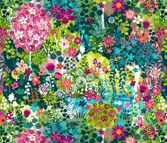 Monet's Garden fabric by sarah_treu on Spoonflower - custom fabric