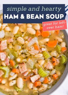 This ultra hearty Ham and Bean Soup is perfect for using up that leftover holiday ham! After all the holiday cooking, you could use something soul-warming and comforting. #soup #ham #beans #holiday