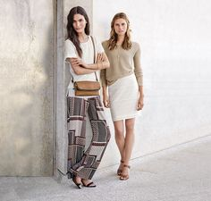 For an even easier way to incorporate the new season's shapes into your wardrobe, opt for light, loose-fitting casuals. Printed wide leg pants, slouchy tees and wellchosen accessories make experimenting with the season's looks easy. Lace Skirt, Sequin Skirt, Shops, Slouchy Tee, Dress Silhouette, Boho Look, Kind Mode, Wide Leg Pants, Outfit