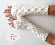 Knit Fingerless Mittens Cable Fingerless Gloves Pattern Knit Pattern Knit Gloves Pattern Cable Arm Warmers - P0008 - PDF Knit pattern via Etsy
