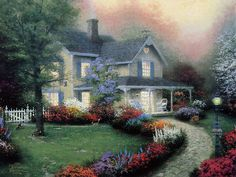 Inviting Front Porches  -  Heartwaming  Cottage Paintings by Thomas Kinkade  6