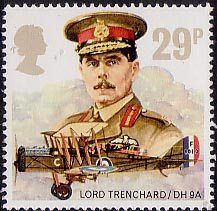 Royal Air Force 29p Stamp (1986) Lord trenchard and De havilland D.H. 9A: