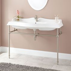 Meado Porcelain Console Sink with Brass Stand - Polished Brass