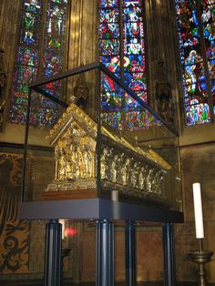 Charlemagne's tomb.  34th great grandfather of Emily Seagle
