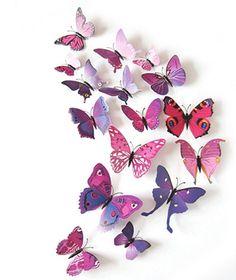 Kleurrijke 3D vlinders paars. Bestel ze eenvoudig en snel in onze webshop www.stickerkamer.nl