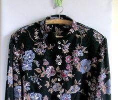 Vintage Blouse / Black Blue Rose Floral Print / 1970s by vintachi, $22.00