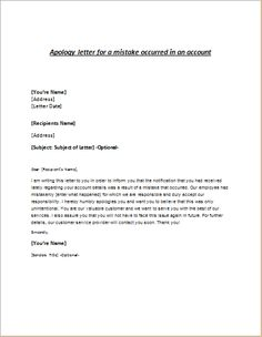 High Quality Apology Letter For Mistake Account Writeletter Download Free Documents Pdf  Word