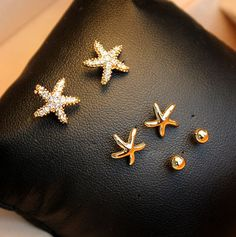 Small fruit yield full diamond starfish earrings set of six female jewelry Korea Korean temperament sweet g046