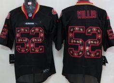 Nike San Francisco 49ers #52 Patrick Willis Lights Out Black Ornamented Elite…