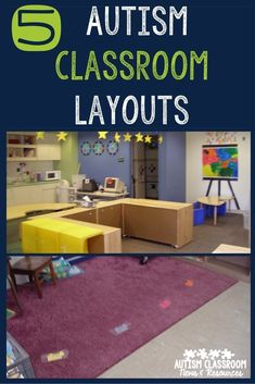 5 Autism Classroom Layouts and Tips for Designing Yours is part of Autistic classroom - I've rounded up 5 posts on setting up classrooms with floor plans and pictures and added some tips to help you design your own Autism Preschool, Autism Classroom, Preschool Classroom, In Kindergarten, Preschool Schedule, Preschool Layout, Inclusion Classroom, Classroom Setting, Preschool Ideas