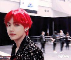 his red hair is definitely a wine Daegu, Taehyung Red Hair, Kim Taehyung, Foto Bts, K Pop, Elvis Presley, Hair Gif, Bts Bangtan Boy, Jimin