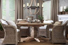 Fantastic Interior Room Decoration with Wooden Round Table also Handmade Comfortable Dining Chairs