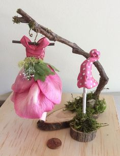 Fairy& Work by Olive Miniatures , Dress Found in the Garden Miniature Fairy Dress with Branch Dress Stand ~ Handcrafted by Olive is part of Fairy garden Farm Dress Found in the Garden 3 Inch - Fairy Garden Images, Fairy Garden Houses, Garden Farm, Fairy Gardening, Fairies Garden, Miniature Fairy Figurines, Miniature Fairy Gardens, Deco Kids, Fairy Garden Furniture