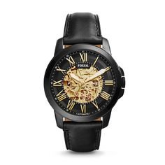 Grant Automatic Black Leather Watch - Fossil