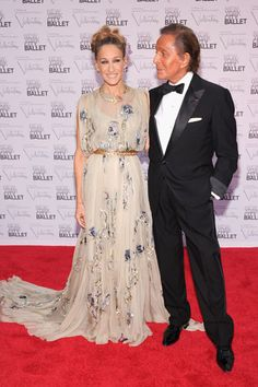 Sarah Jessica Parker and Mr. Valentino at the New York City Ballet gala.  30 costumes of the NYCB come directly from Mr. Valentino genius and Sarah J Parker hosted the Gala.