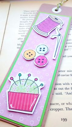 Sewing Bookmark Needlework Stitching Sewer by CraftyMushroomCards