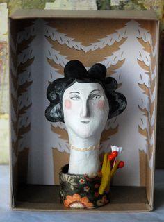 Sarah Young - Bernadette, Handmade Palmsized Head OOAK Doll