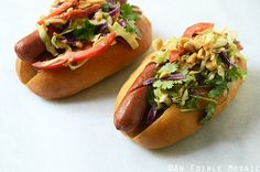 Thai-Inspired Street Dogs: Grilled Hot Dogs with Peanutty Garlic, Ginger, and Cilantro Slaw Recipe Slaw Recipes, Dog Food Recipes, Bbq Grill, Grilling, Beef Hot Dogs, Butter Rice, Street Dogs, Can Dogs Eat, Dog Feeding