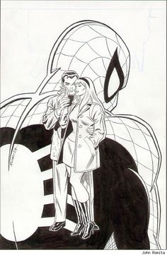 "Webspinners: Tales of Spider-Man Peter Parker and Gwen Stacy ""The Kiss"" Cover Original - Available at 2013 May 16 - 18 Comics. Comic Book Artists, Comic Artist, Comic Books Art, Gwen Stacy, Marvel Art, Marvel Heroes, Marvel Characters, Spider Verse, John Romita Jr"