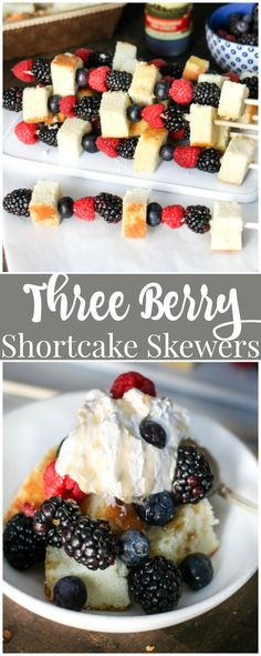 Three Berry Shortcake Skewers are stacked with delicious juice berries and pound cake, then drizzled with a sweet raspberry infused balsamic reduction which takes this dessert to the next level! Easy No Bake Desserts, Great Desserts, Best Dessert Recipes, Sweet Recipes, Delicious Desserts, Yummy Food, Yummy Recipes, Cooking Recipes, Delicious Dishes